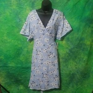 Fashion to Figure Blue Floral Wrap Dress - 2X
